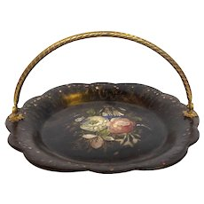 Paper Mache Black Dessert Tray 19th c.