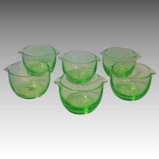 Six Vaseline Glass Wine Rinses England 19th c.
