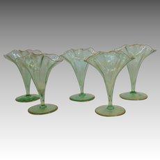 Five Vases Ruffled Edge Small Victorian Blown Glass 19th c.