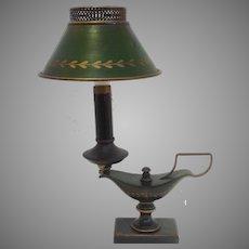 Green Tole Lamp Mid Century