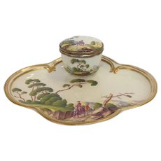 French Porcelain Inkwell Gentleman on Horses 19th c.