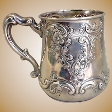 Ornate Sterling Cup Repousse 'Cythia Magee' 1894 : Antiques