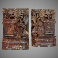 Chinese Soapstone Bookends Flower Pots