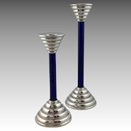 Pair Mid-Century Sterling Candlesticks Modern Italian Cobalt Glass Circa 1960