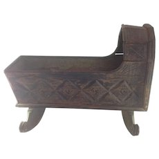 Jacobean Hooded Carved Oak Cradle 17th c.