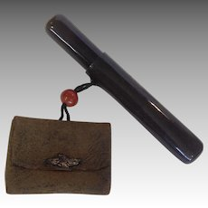 Japanese Kiseru Pipe Leather Pouch and  Lacquer Pipe Case 19th c.