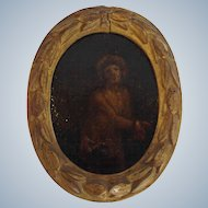 Miniature Painted Christ in Crown of Thorns Oil