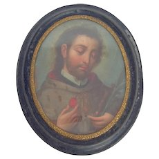 Painted Sacred Heart Miniature 19th c