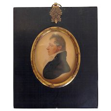 Miniature Watercolor of a Gentleman Early 19th Century