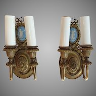 Pair Wedgwood Sconces Gilt Brass