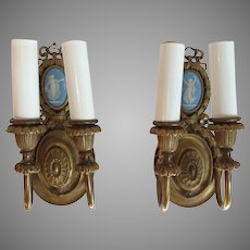 Pair Wedgwood Sconces Gilt Brass