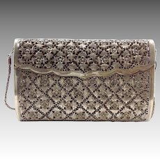 Sterling Purse Pierced Floral Design Chinese Signed
