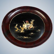 """Large Shibayama Lacquer Charger Mother of Pearl As Is 21"""""""
