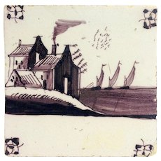 Delft Tile Mulberry House and Ships 18th c