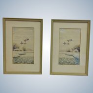 Pair Sudy Flying Duck Eastern Shore Watercolors