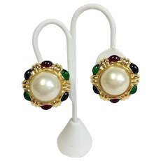 Ciner Faux Pearl Emerald and Ruby Poured Glass Earrings