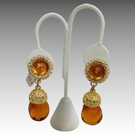 Dominique Aurientis Pendant Gripoix Glass Dangle Earrings New Never Worn