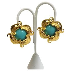 Fendi Floral Gold Tone Turquoise Color Ear Clips