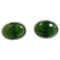 Cufflinks Green Jade 14 Karat White Gold