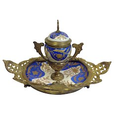 Gilt Brass and Porcelain Inkstand Continental