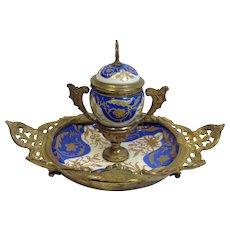 Gilt Brass and Porcelain Inkstand Continental