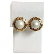 Mabe Pearl Earrings 18k
