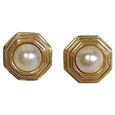 Mabe Pearl Earrings 14 Karat