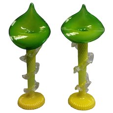 Pair Jack in the Pulpit Vases Victorian Brilliant Yellow and Green