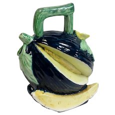 Majolica Gourd Pitcher Antique Restored