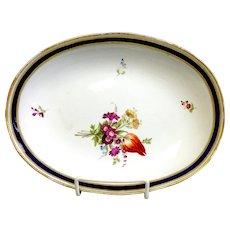 Oval Meissen Floral Cake Dish Floral Cobalt Border