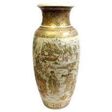 "Large Satsuma Vase 23 1/2"" 1890's Finest Quality"