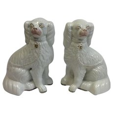 Pair White Staffordshire Dogs Antique 10 3/4""