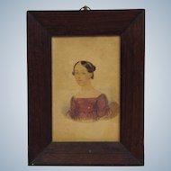 American Portrait of a Lady Watercolor Circa 1830's