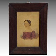 American Portrait of a Lady Watercolor Circa 1830's