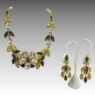 Flower Rhinestone Yellow and Green Dangling Earrings Pristine!