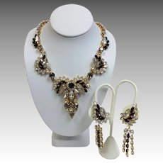 Sapphire Rhinestone Necklace and Chandelier Earrings Vintage Like New