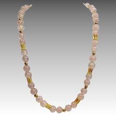 """Rose Quartz Necklace 14 Karat 28"""""""