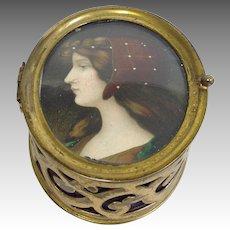 Antique Portrait Box Brass