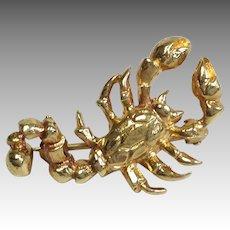 Scorpion Pin 14K Yellow Gold or Pendant