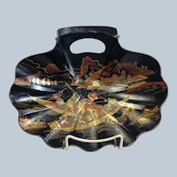 English Chinoiserie Shell Dish Lacquer 19th Century