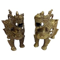 Pair Chinese Brass Foo Dogs 5 1/2""