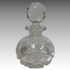 "Cut Glass Perfume Bottle 6"" American Brilliant Period"