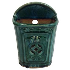 Chinese Green Pottery Wall Pocket
