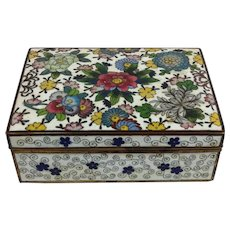 Ando Cloisonne Flowers White Ground Small Box