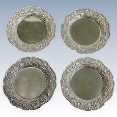 Group Kirk Repousse Butter Pats Four Sterling