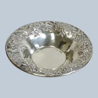 Kirk Repousse Sterling Bowl Hand Decorated 10 1/4""