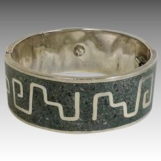 Mosaic Turquoise Sterling Bangle 1950's