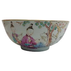Chinese Export Bowl Figural Design 1800
