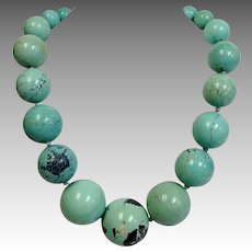 Large Turquoise Necklace 32MM Graduated