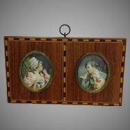 Miniature Pair French Portraits Framed
